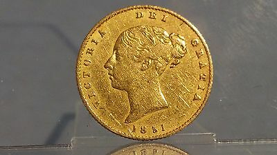 # 1851 Victorian half sovereign young head shield back 22ct gold coin