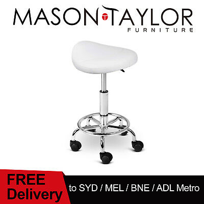 Mason Taylor Saddle PU Swivel Salon Stool White Salon Hairdressing Styling Chair