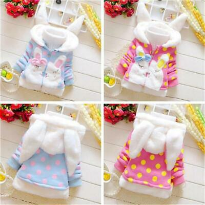 Baby Girls Kids Rabbit Ear Hoodie Coat Winter Clothes Warm Jacket Pony Hoodie JJ