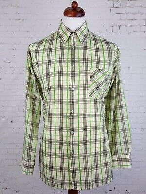 Vtg Mens L- Sleeve Green Check Single Cuff Polycotton Shirt Mod Weller  -L- EH68