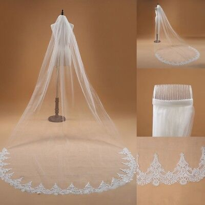 New 1T White/Ivory Cathedral Wedding Bridal Veil With Comb Lace Edge Accessories