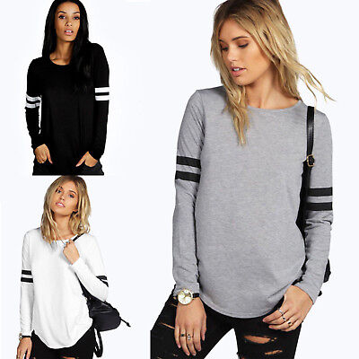 Womens Loose Long Sleeve T-Shirt Autumn Casual Blouse Cotton Shirt Tops Pullover
