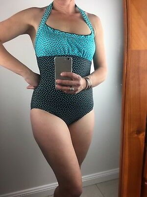 Brown & Turquoise Vintage Halter Neck Polka Dot Swimmers Pin Up Size 8/10
