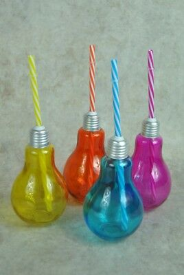 Coloured Glass Retro Bulb Shaped Drinking Cups with Straws Party