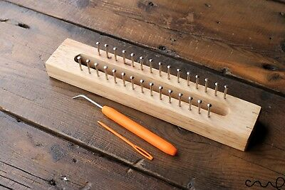 30 Pins Wooden Knitting Loom Fine Gage Board with Loom Hook Needle Handmade Gift