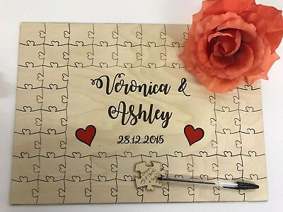 Personalised wooden coloured hearts wedding guest book jigsaw puzzle anniversary