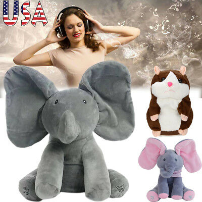 Animated Singing Elephant Stuffed Baby Toy Peek-a-Boo Hamster Mouse Plush Toy US