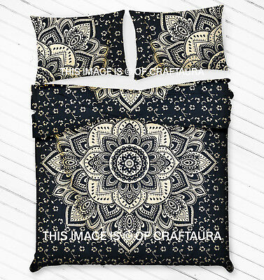 Lotus Mandala Queen Quilt Cover doona Cover Double Bedding Set Blue Gold Ombre
