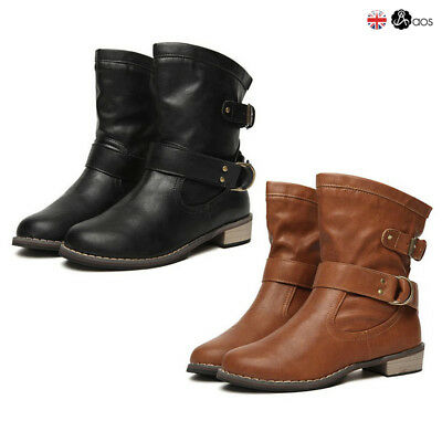 Womens Ladies Flat Ankle Boots Casual Buckle Side Zip Low Heel Shoes Sizes UK
