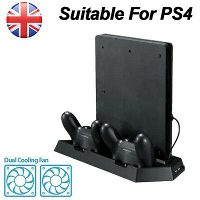Vertical Stand Cooling Fan 2 Controller Charging Station Dock Cooler Hub for PS4