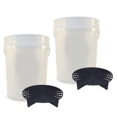 2x 20L Wash Buckets + Genuine Grit Guards Black - 2 Bucket Method