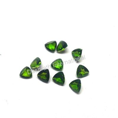 Russian Green Chrome Diopside Trillion Cut 3 Mm To 6 Mm Natural Loose Gemstone