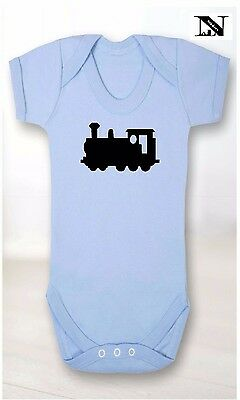 Blue Baby Vest With Toy Train