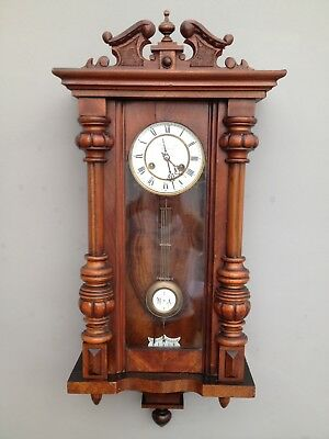 Antique Vienna Wall Clock Walnut Case Fattorini & Sons 8 Day 1890s Working.