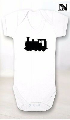 White Baby Vest With Toy Train