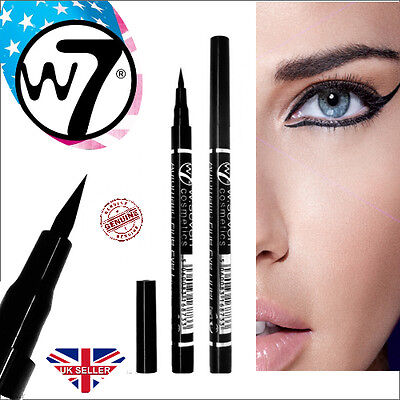 W7 Line To Five Black Fine Eyeliner Precision Definer Waterproof Pen Felt Tip
