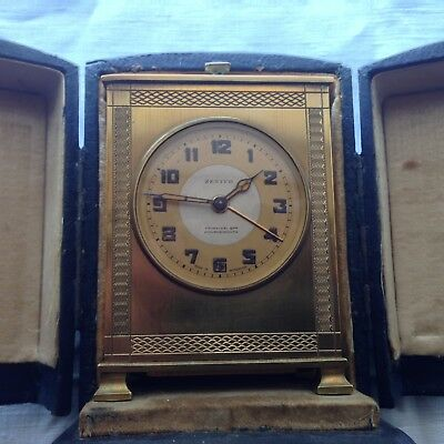 VINTAGE ART DECO 1920's 'ZENITH' SWISS 8 DAY CARRIAGE STYLE ALARM CLOCK + CASE
