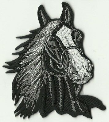 écusson ECUSSON PATCHE THERMOCOLLANT TETE DE CHEVAL NOIRE Horse Head Embroidered