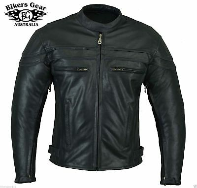 Mens Sturgis Motorcycle Leather Jacket Full Ce Armour Ykk Zip