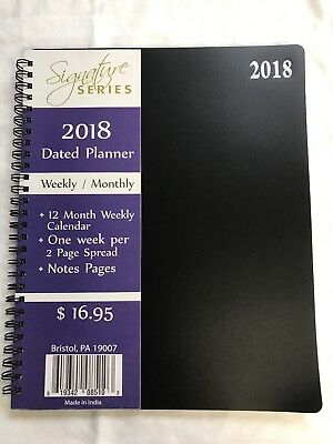 Black 2018 Signature Dated Day Planner 8X10 Weekly Monthly Calendar appointment