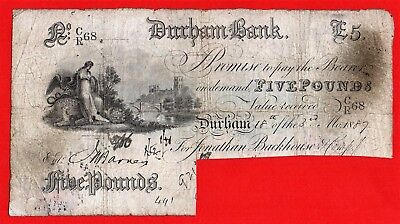 England, 1887  Durham Bank  £5 Pound  Banknote  J. BACKHOUSE & Co.   RARE