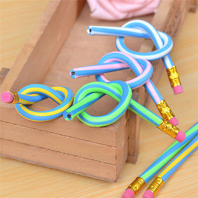 3Pcs Creative Soft Magic Colorful Set Flexible Bending Kids Writing Gift Pencil