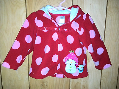 Carter's Baby Girls Hoodie Jacket Size 24M  Red With Pink Dots