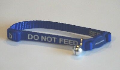 Do Not Feed Reflective Blue Ancol Safety Release Clip Cat Collar And Bell
