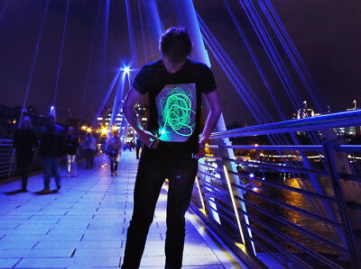 Interactive Glow T-shirt Black/Green - Adults and Children's Sizes Dragon's Den