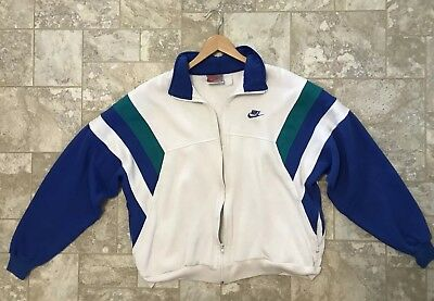 Vintage Nike 80s Track Jacket Gray Tag Size XL White Blue And Teal