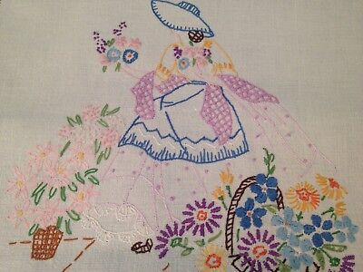Vintage Hand Embroidered Linen Table Runner CRINOLINE LADY and FLOWERS