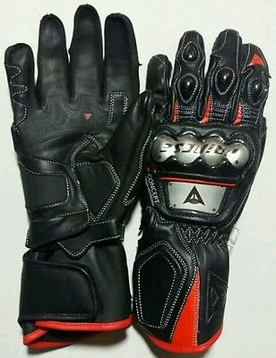 New Super Racing Full Metal  Leather Gloves Black/Fluo Red