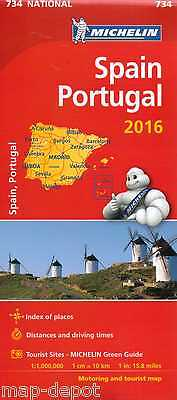 Spain And Portugal Map - New - Michelin 734 - 2016 Edition