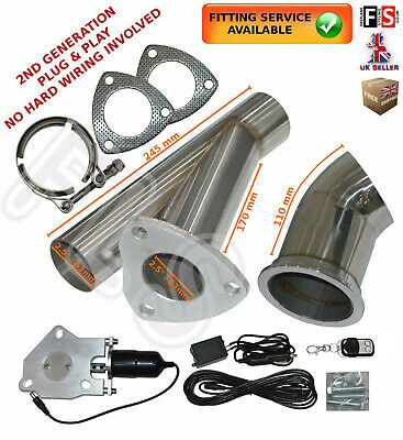 "Universal Fit Powered Exhaust Cut Off Valve Kit 2.5"" Electric Control System"