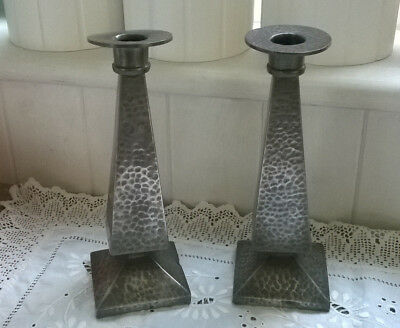 Art Deco Pair of Vintage Hammered Pewter Candlesticks by Abbey