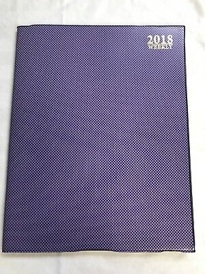 2018 Weekly Dated Day Planner PURPLE Appoinment Calendar book 1 week per spread