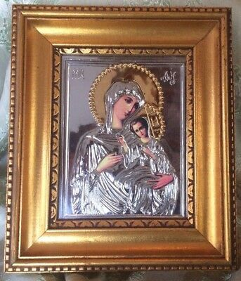 "Madonna and Child Russian Print Silver Embossed Mat Overlay Gold Frame 8.25""x7"""