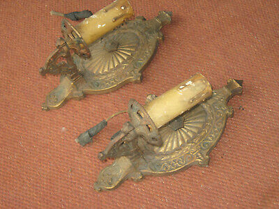 Vintage/Antique 1920'S Electric Wall Sconce Light Fixtures Set/2 Brass Plated