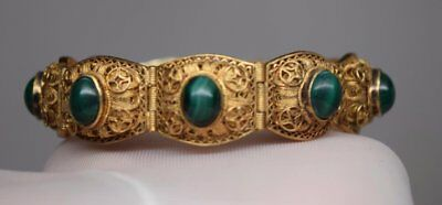 VINTAGE Chinese STERLING Silver malachite GOLD GILT  Antique Filigree Bracelet