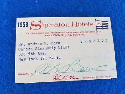 Vintage Hotel Credit Cards Sheraton Hotels 1958 Diners Paper Credit Card
