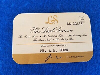 Vintage Hotel Credit Cards The Lord Limcoe 1957-58 Canada Paper Credit Card