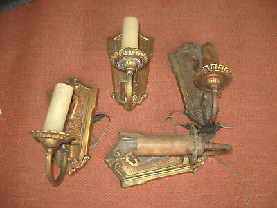 Vintage/Antique 1920'S Electric Wall Sconce Light Fixtures Set/4 Brass Plated