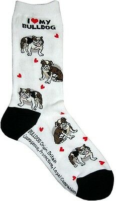 I Love My Bulldog (631110) Women Socks Cotton New Gift Fun Unique Fashion