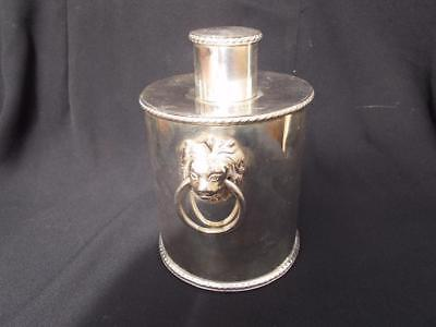 19Th C Georgian Style Silver Plated Tea Caddy Lions Head Handles Lovely Cond