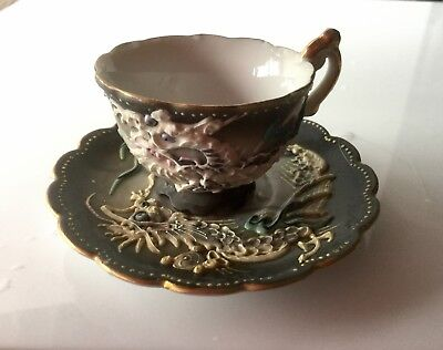 Vintage Dragon ware Moriage Demitasse Cup and Saucer and ashtray Occupied Japan