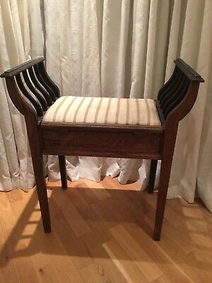 Victorian Mahogany Piano/window/dressing Stool Rare Design