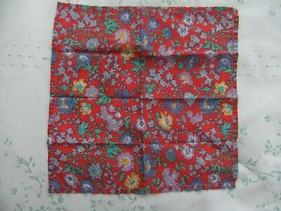 Red Flowered Ladies' Handkerchief, Cotton Lawn, Liberty Style, Vintage
