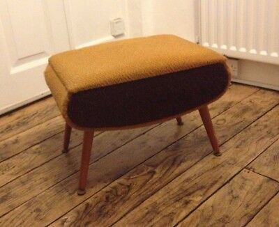 Vintage retro foot stool sewing box with Dansette legs