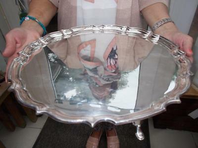 Large Edwardian Silver Plated Pie Crust Edged Serving Tray On 4 Pad Feet