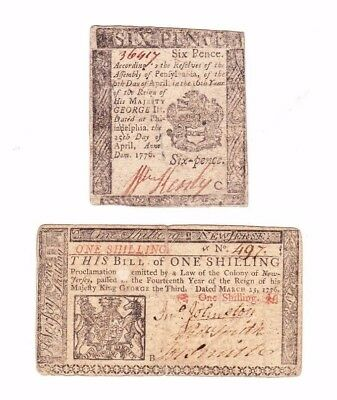 Lot Of 2: One Shilling New Jersey 1776 And Six Pence Philadelphia 1776 Bills Nr